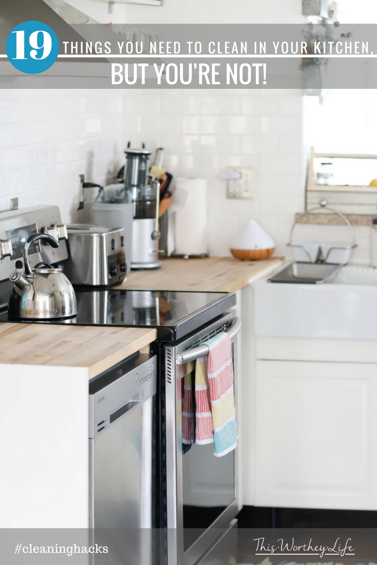 Whether its spring cleaning or fall cleaning, there are several areas in your kitchen you should be cleaning on a regular basis. I'm sharing 19 things you need to clean in your kitchen, but you're not! And, it's time to change that!