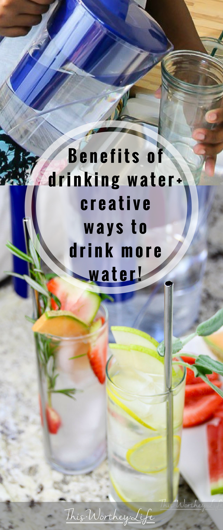 Looking for ways to drink more water? There are great benefits to drinking water everyday, and I'm sharing creative ways to drink more water!
