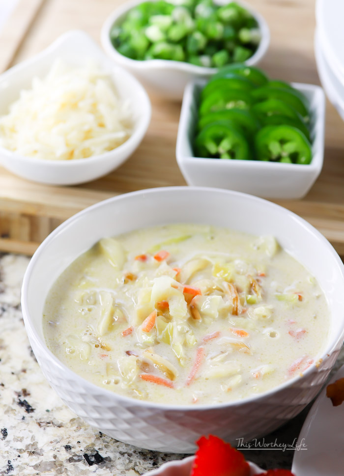The weather may be warm, but this Instant Soup recipe is one you will not only want to make in the winter, but in spring, summer, and fall. Our homemade Creamy Cabbage Soup is filled with fresh ingredients, a fine cheese, caramelized onions, fresh cabbage, and topped with thick-cut bacon. Yes, this recipe is drool-worthy, hearty, and will leave you wanting more. It's just that good.