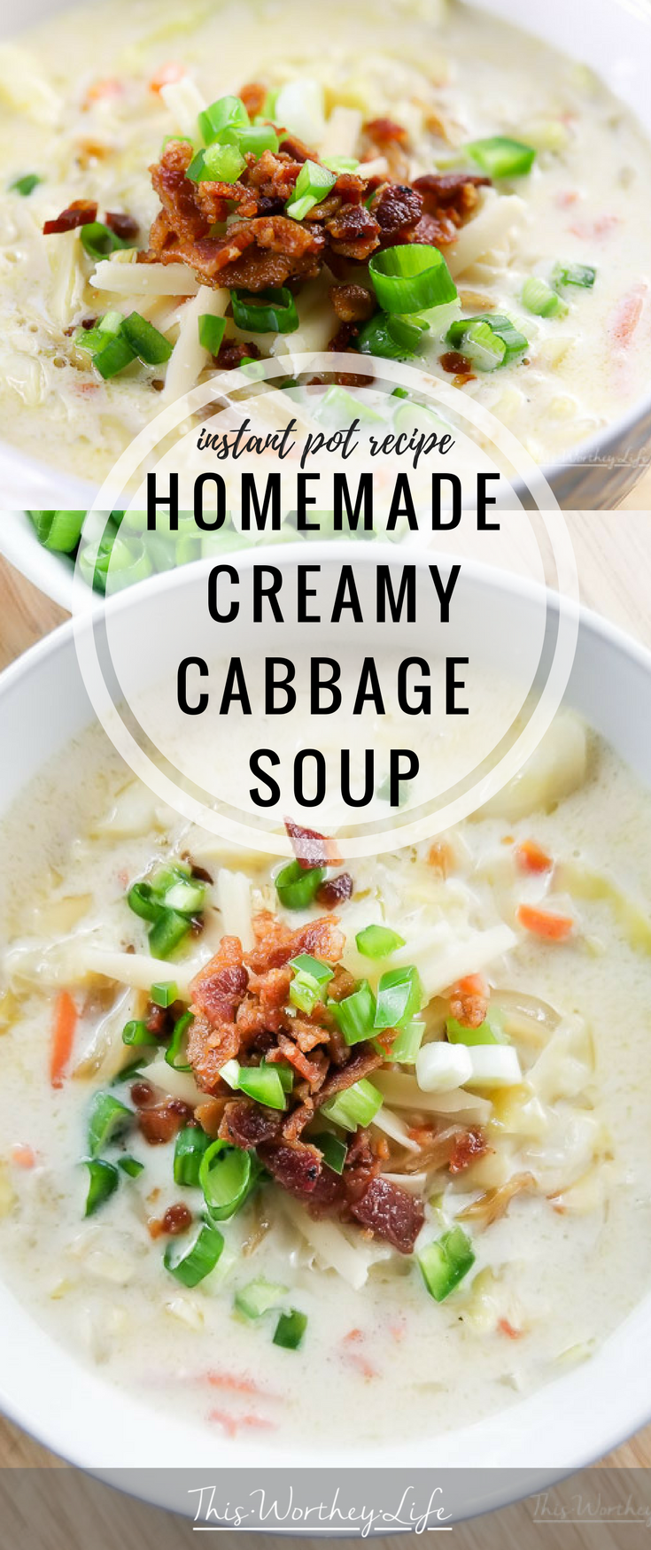 The weather may be warm, but this Instant Pot soup recipe is one you will not only want to make in the winter, but in spring, summer, and fall. Our homemade Creamy Cabbage Soup is filled with fresh ingredients, a fine cheese, caramelized onions, fresh cabbage, and topped with thick-cut bacon. Yes, this recipe is drool-worthy, hearty, and will leave you wanting more. It's just that good.