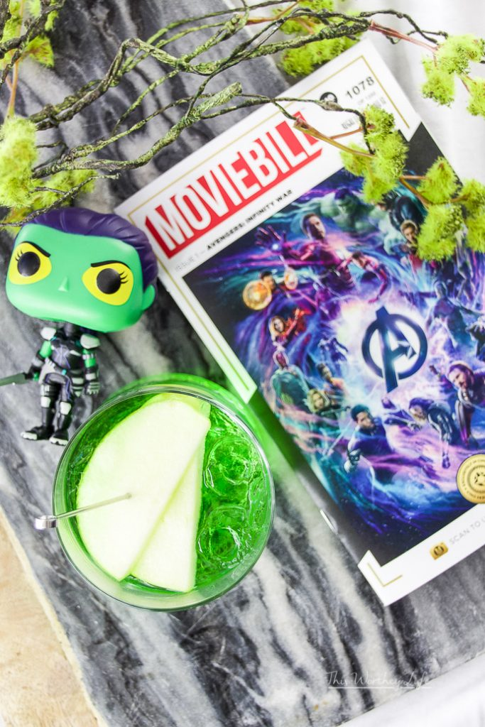 We're dedicating this green apple vodka to Gamora, first seen in Guardians of the Galaxy. Gamora plays an important role in Infinity War, and we get to see quite a bit of dialogue between Gamora and Thanos. This Honeycrisp vodka mixed with Midori Melon and green apple soda pays homage to Gamora.