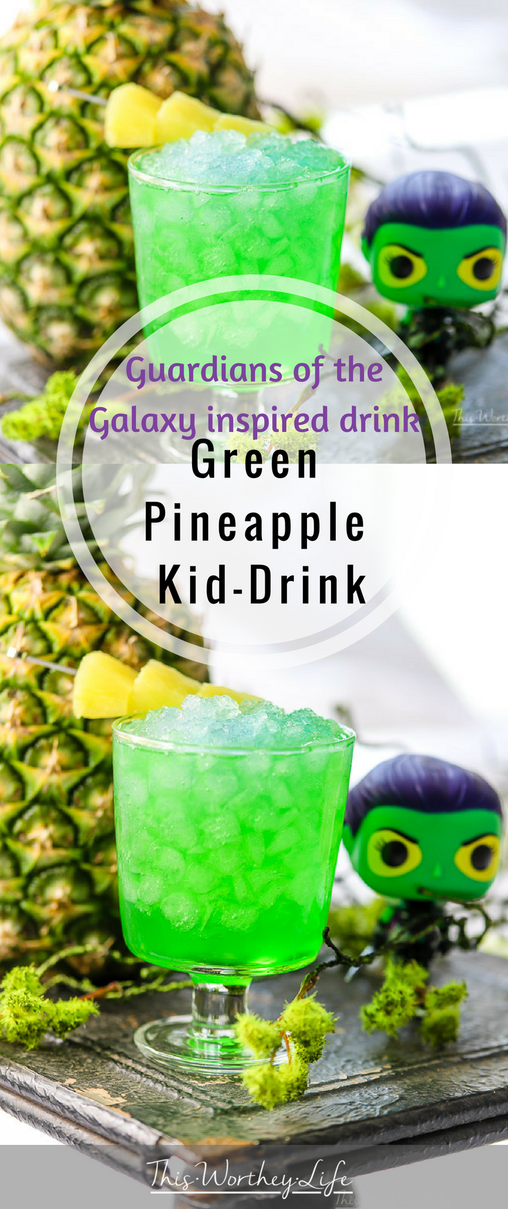 This fun kid-friendly green drink has pineapple juice, green apple syrup, and lemon-lime soda to make a Guardians of the Galaxy drink featuring Gamora!