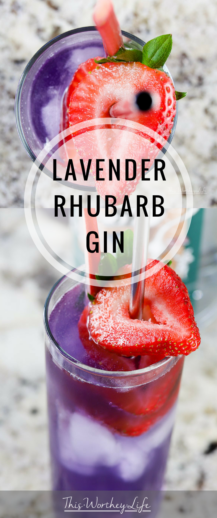 This purple cocktail idea is great to make this summer. Filled with fresh strawberries, rhubarb, lavender syrup, and gin, this refreshing summer drink is pretty and delicious. Grab the ingredients and try our Lavender + Rhubarb Gin Drink!