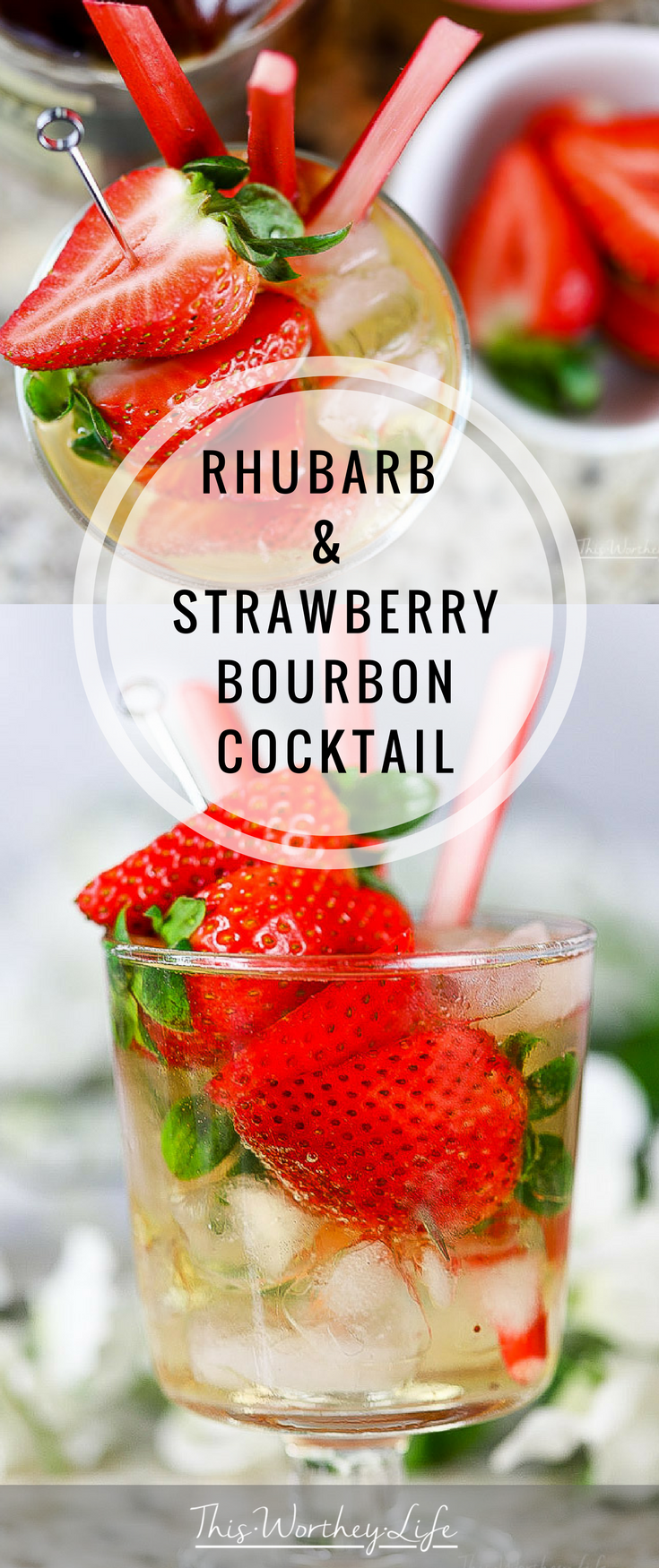 Summer is the perfect time to experiment with new rhubarb recipes. And this doesn't exclude cocktails. With fresh strawberries and rhubarb a dime a dozen, fancy your summertime drinking with this bourbon cocktail. Our Rhubarb & Strawberry Bourbon Cocktail is one you will want to try this year and make again and again. Grab the recipe on the blog, and enjoy this summertime cocktail!