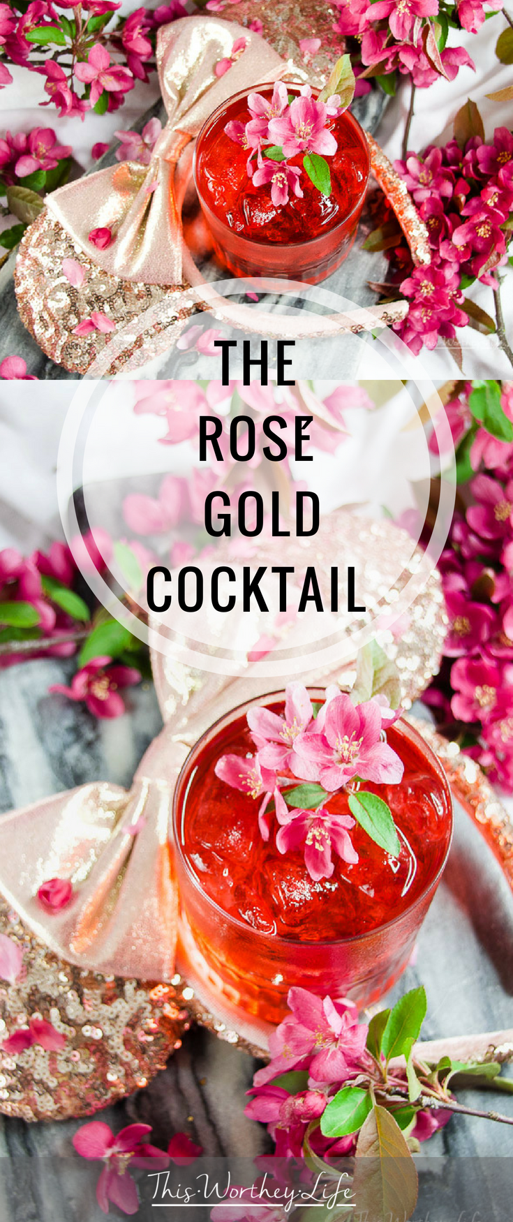 Who knew you could find inspiration from Rose Gold Minnie Mouse ears from Disney? Yup, we've created a gorgeous rose gold cocktail using vodka, rose lemonade, Rosé wine, and pink rose simple syrup. See how we put this The Rosé Gold Cocktail together on the blog and give it a try this weekend!