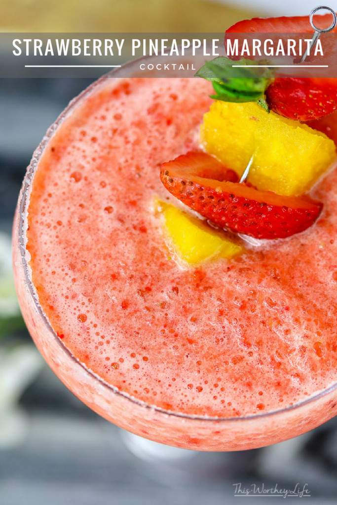 Cool down this summer with a frozen strawberry + pineapple margarita.Add super lush and juicy strawberries and mega-sweet pineapple, all aswirl in a tumult of slushy ice and tequila. Sounds like bonafide good time to my ears. Cheers!