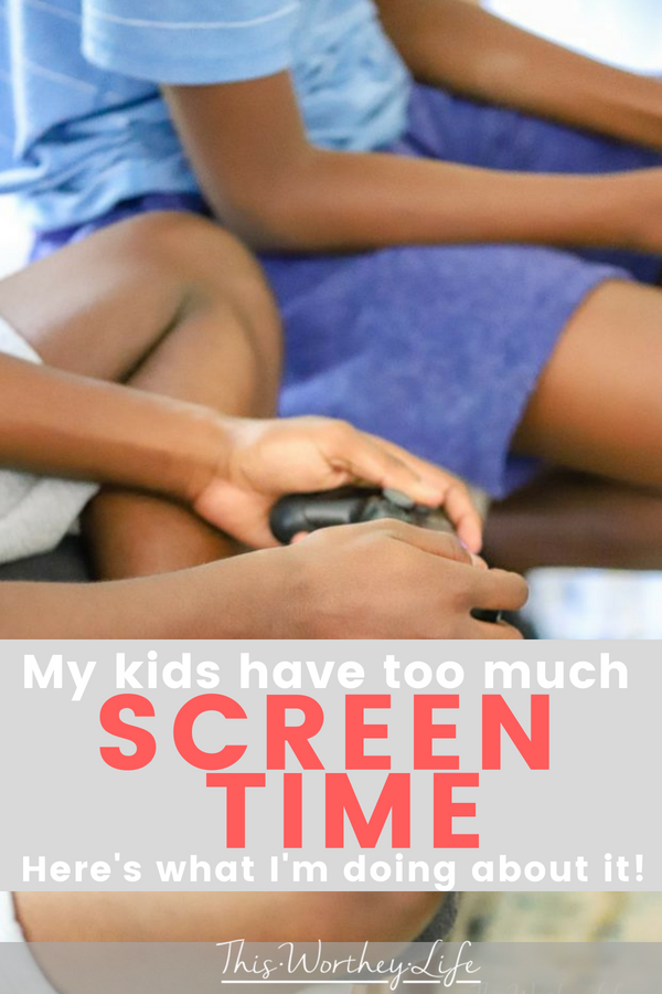 I'm sharing a parenting guilt I've been holding on to for a while- my kids have too much screen time. I'm also sharing tips on how to cut back on screen time and what to do instead!