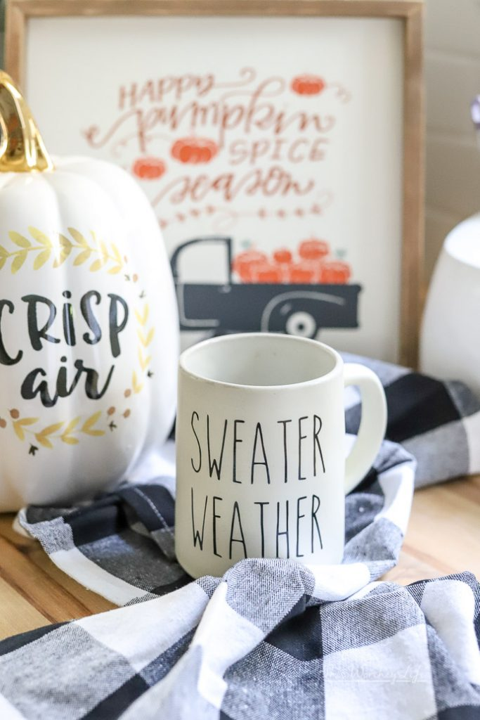 Are you looking for coffee mug vinyl ideas and an easy way to make your own coffee mug using vinyl and a Cricut? Well, I'm sharing how I made this DIY Rae Dunn Inspired Decal for my coffee mugs.
