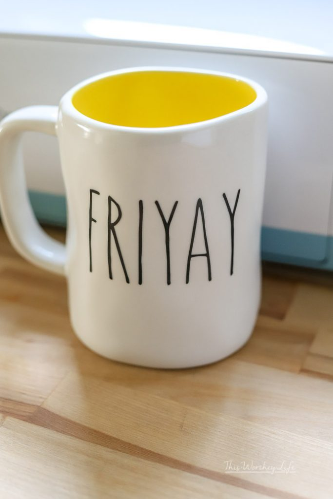 FRIYAY Rae Dunn inspired coffee mug decal using a Cricut