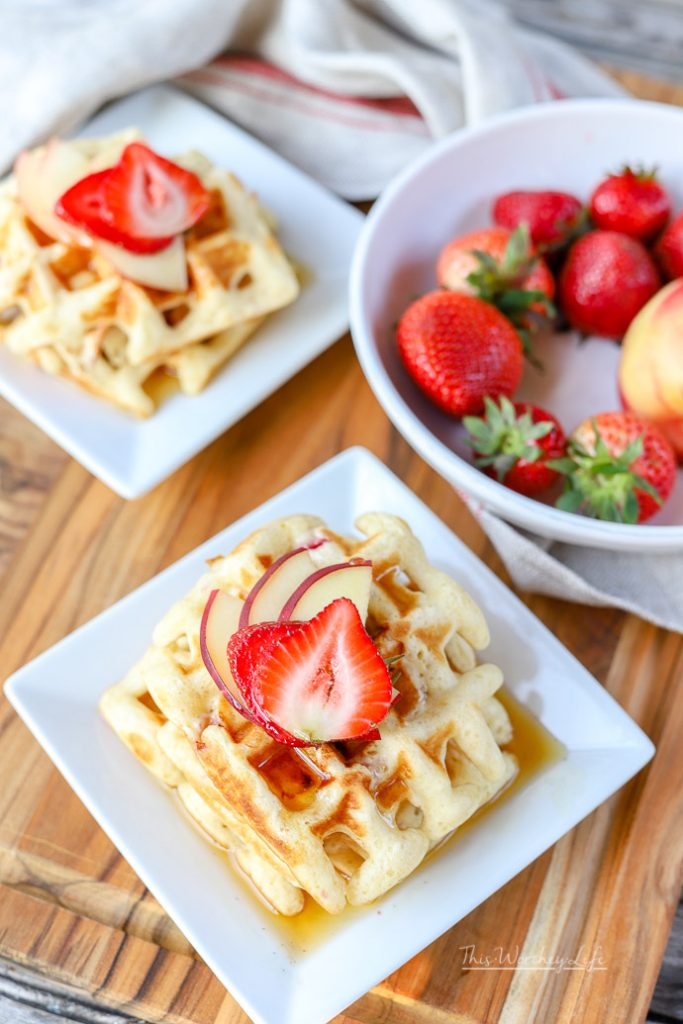 "Use our breakfast hack on making ""homemade"" waffles with pancake mix. With fresh fruit such as strawberries and white peaches, this easy waffle recipe can be made in just a few minutes, which is perfect for those busy school mornings.  Easy Waffle Recipe 