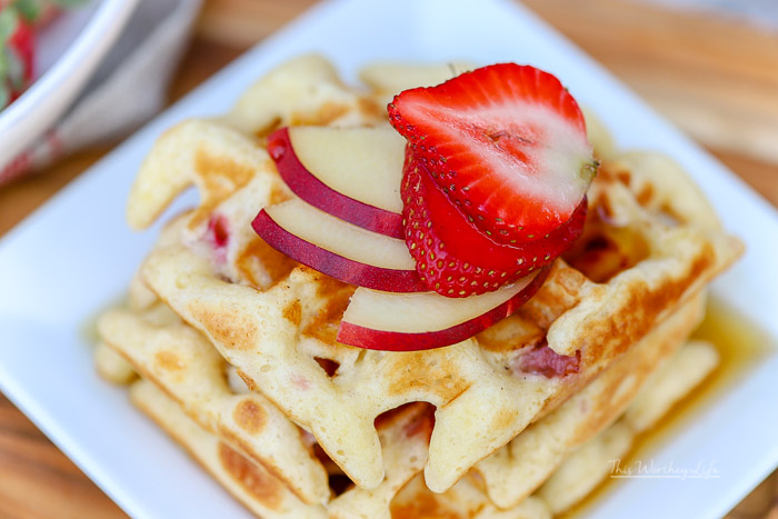 Easy Waffle Recipe   Strawberry + White Peach Waffles