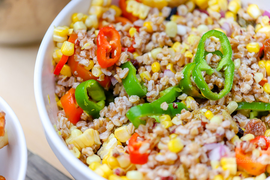 A healthy and delicious salad is just what the doctored ordered. This fall salad is filled with fresh veggies and farro made in the Instant Pot. Grab the recipe for our Mixed Veggie Farro Salad below using Bobb's Red Mill farro.