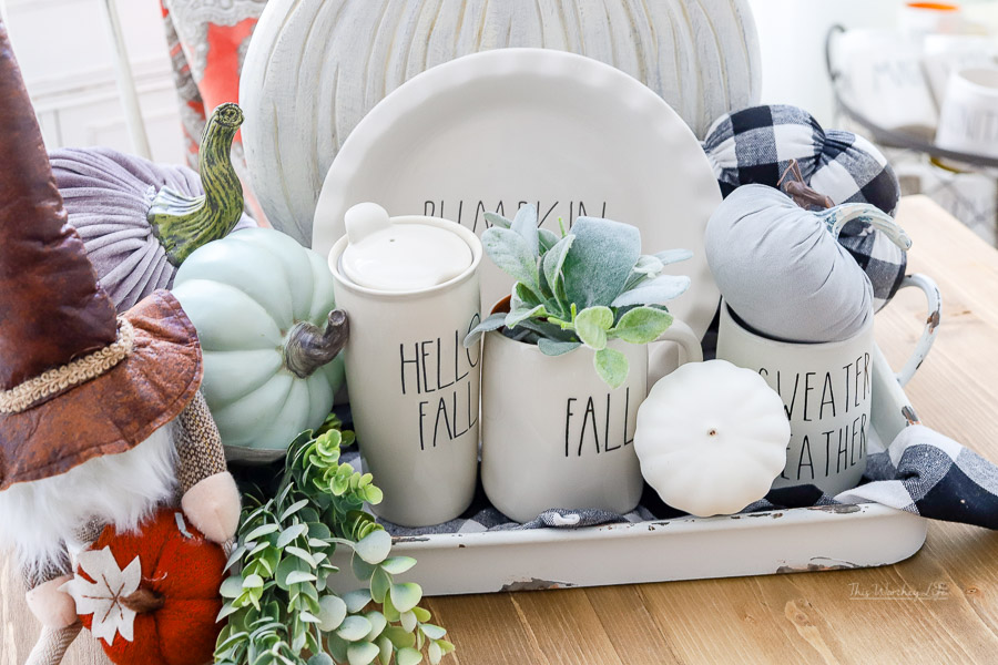 Fall Decor ideas using Rae Dunn