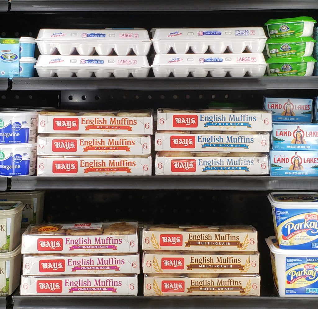 Bays English Muffins on Shelf in Dairy Section
