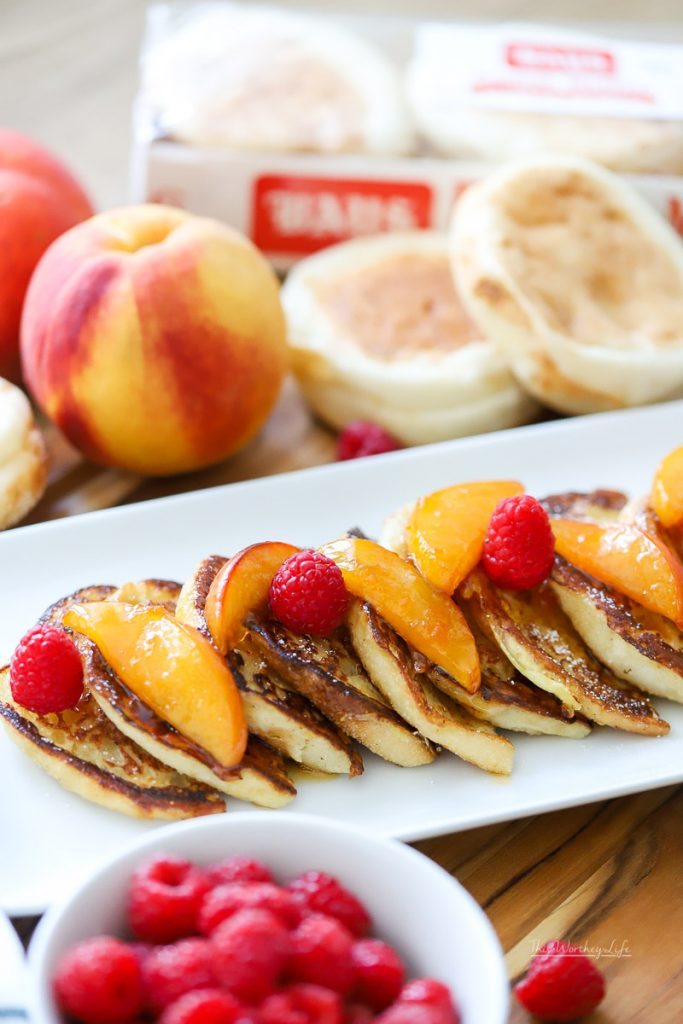 If you're looking for an overnight french toast recipe, you should try this peach melba french toast, also perfect to make for Christmas morning!