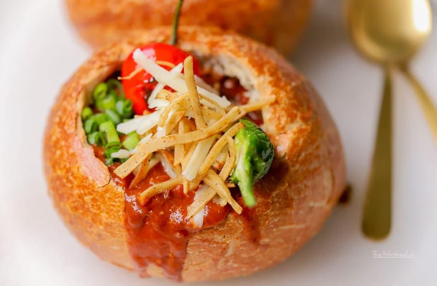 Cheesy Chili Bread Bowl