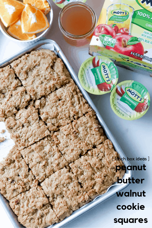 Freshen up the lunch box with ourPeanut Butter Walnut Cookie Squares recipe, a fancy sandwich idea, and the best snacks + juice to include in your child's lunchbox. Our lunch box ideas are just what you need to try this week!