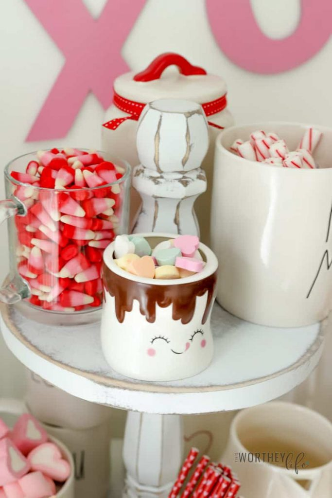 Get inspired with our Rae Dunn Hot Cocoa Bar Idea to create your own using our ideas listed above. With a Valentine's Day theme, this hot cocoa bar is perfect for those cold winter nights.