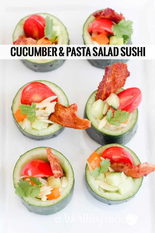 Cucumber & Pasta Salad Sushi