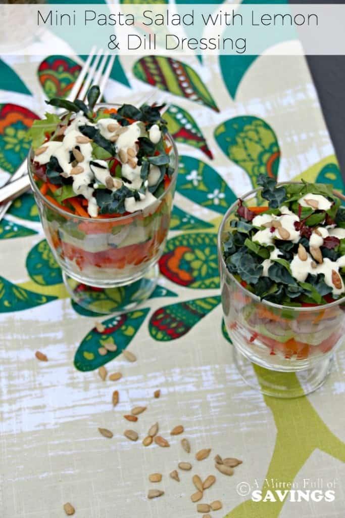 Deconstructed Mini Pasta Salad with Lemon & Dill Dressing