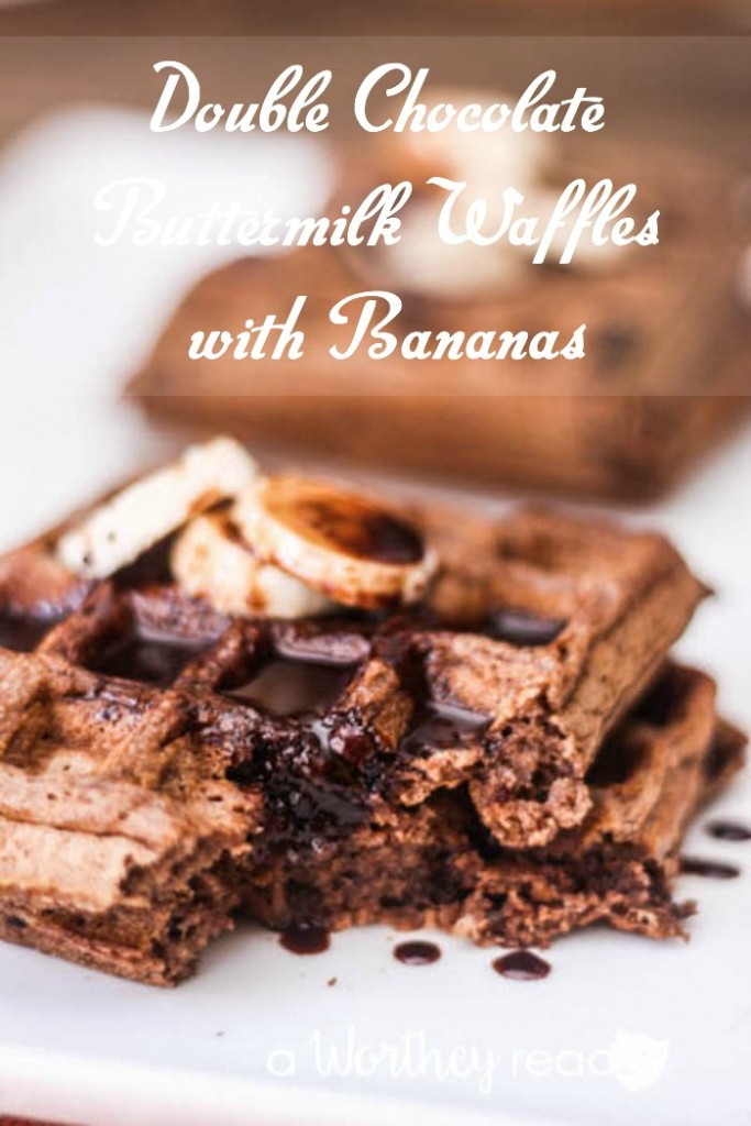 Double Chocolate Buttermilk Waffles with Bananas