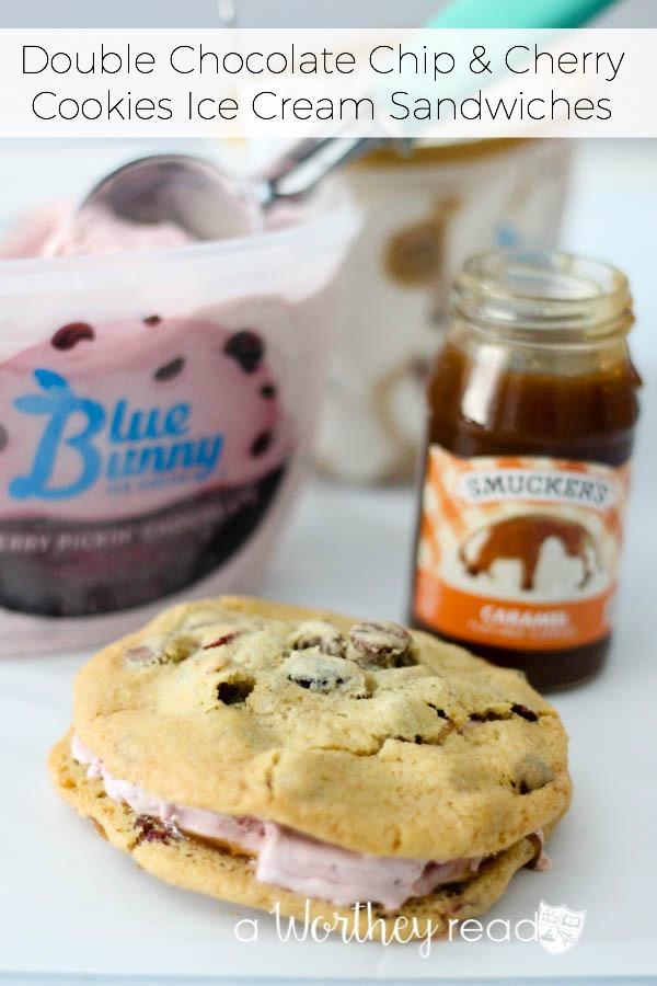 Double Chocolate Chip & Cherry Cookies Ice Cream Sandwiches