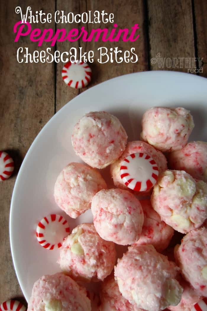 White Chocolate Peppermint Cheesecake Bites