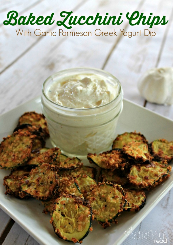Zucchini Chips with Parmesan Garlic Greek Yogurt Dip