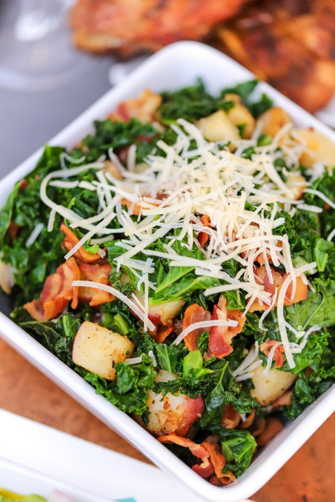 Warm Red Potatoes with Kale, Bacon & Parmesan
