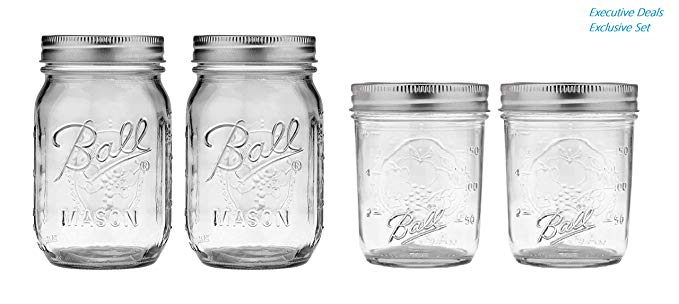 Ball Mason Jars 8 oz & 16 oz Bundle - Regular Mouth Ball Glass Canning Jars with Lids