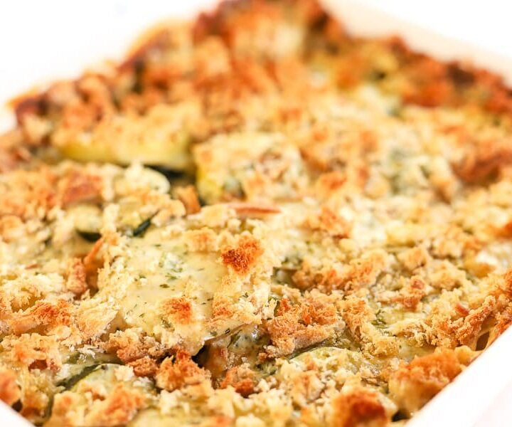 Family Dinner Idea: Potato Zucchini Alfredo Bake
