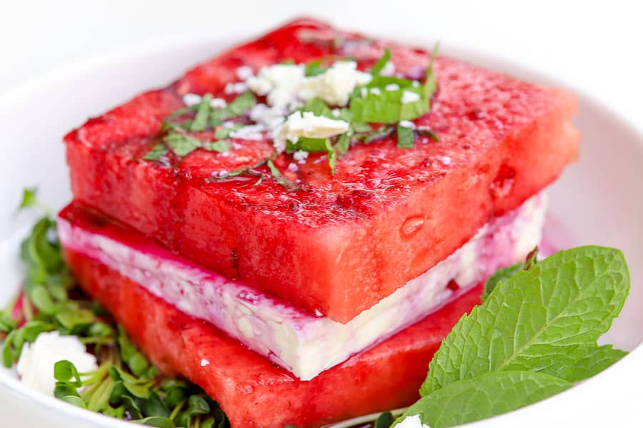 Watermelon Feta Salad Stack with Blueberry Drizzle