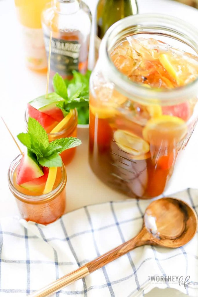 Bourbon Moscato Tea Punch for a whole party