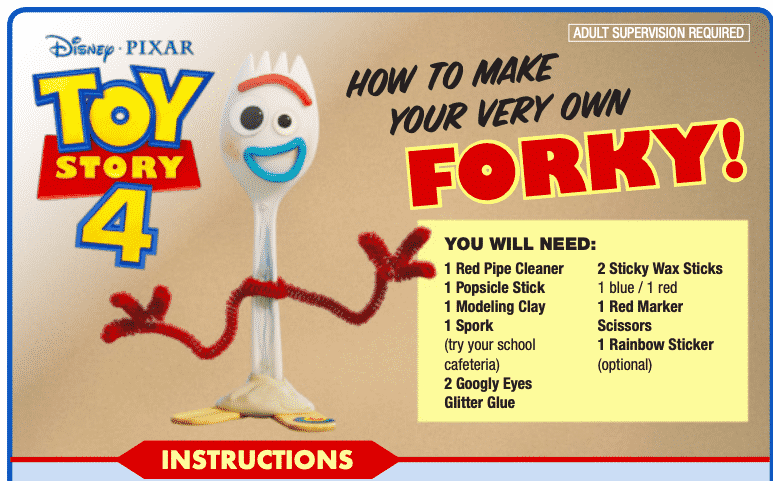 How to make Forky free printable + instructions