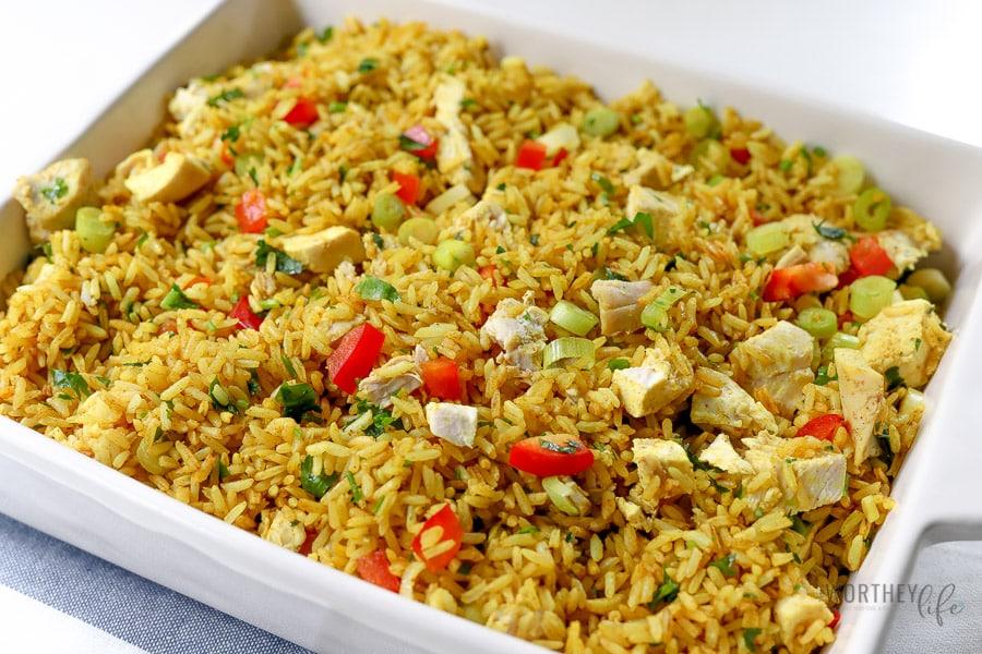 Recipes using leftover chicken:Turmeric Jasmine Rice + Roasted Chicken