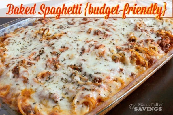 Baked Spaghetti {budget-friendly recipe} - Fresh Outta Time