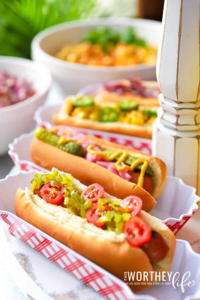 Hot dogs are the perfect blank canvas to cover with some of your favorite toppings! Homemade condiments are essential for backyard cookouts.