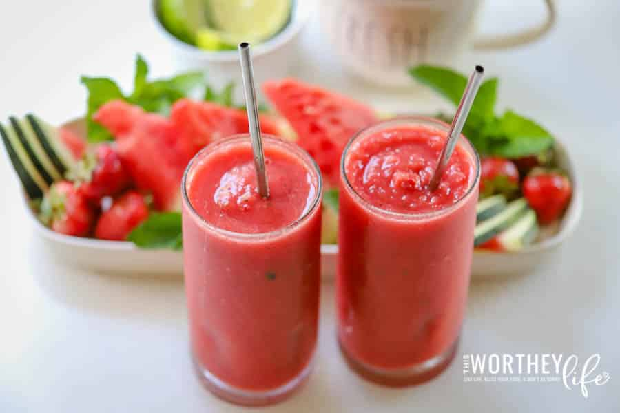 Are you in love with the Watermelon Mojito Smoothie from Tropical Smoothie as much as we are? We can't get enough of this summertime frozen fruity and yummy treat! And since we were spending a king's ransom on getting them (they're so irresistible) we decided to create our very own copycat Watermelon Mojitos.