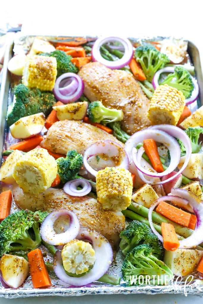 Getting dinner on the table doesn't have to be too hard when you're using McCormick's ONE Dish Seasoning Mix. I'm showing how to make a sheet pan dinner idea using Farmer's Market Chicken & Vegetable seasoning.