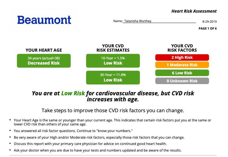 Beaumont Heart Health Assessment