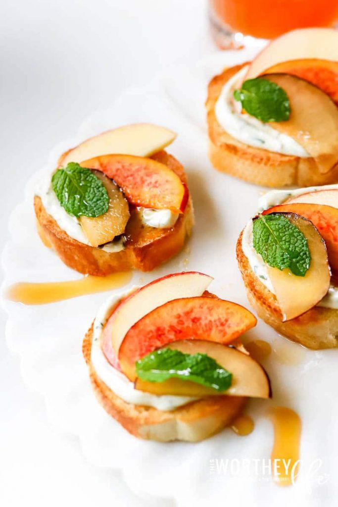 Herb Cream Cheese, Fall Fruit & Honey Crostini