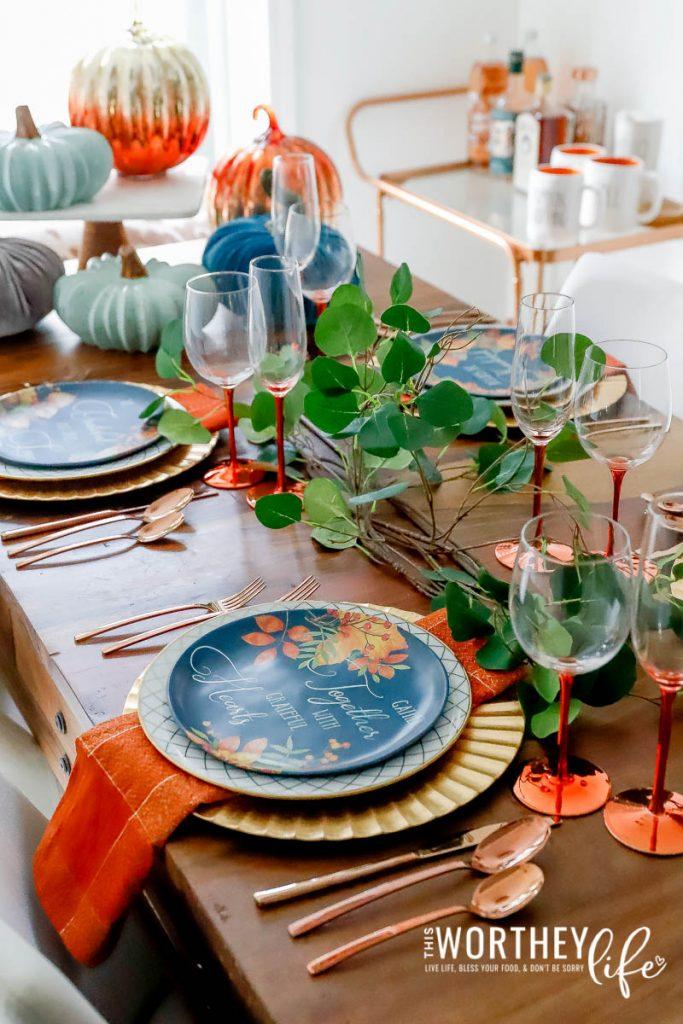 Fall tablescape using orange hues
