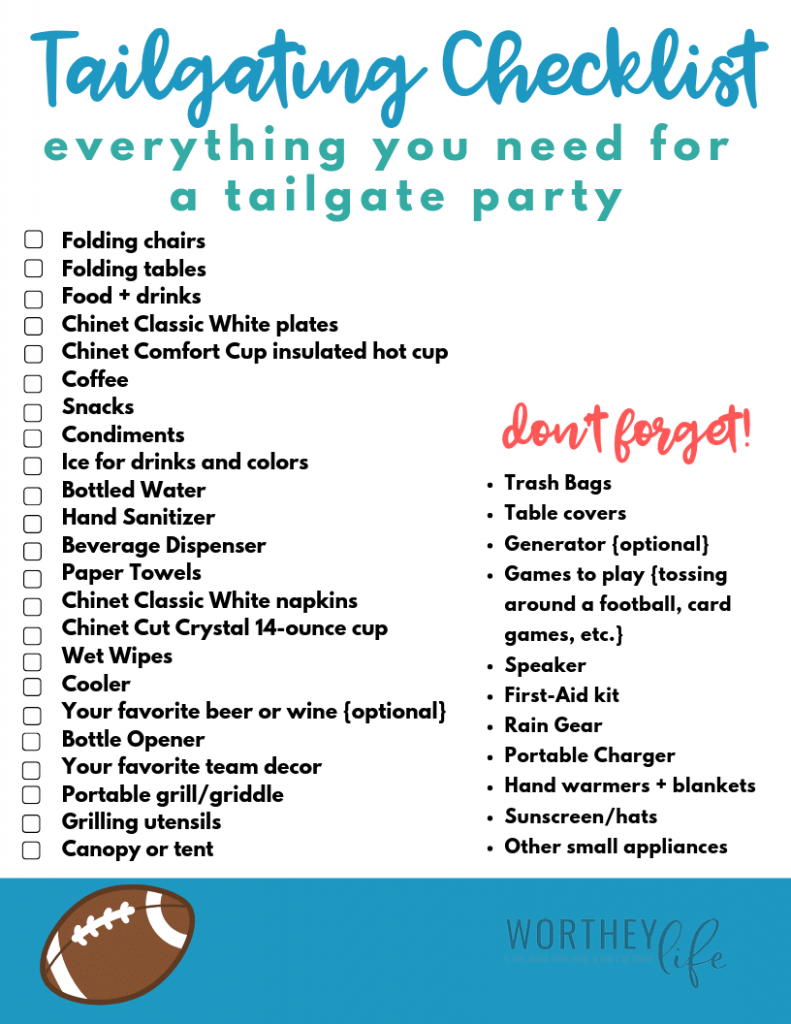 Tailgate Checklist Free Printable