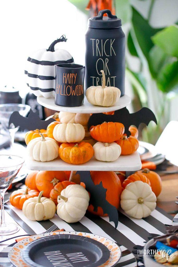 Rae Dunn Tiered Halloween centerpiece