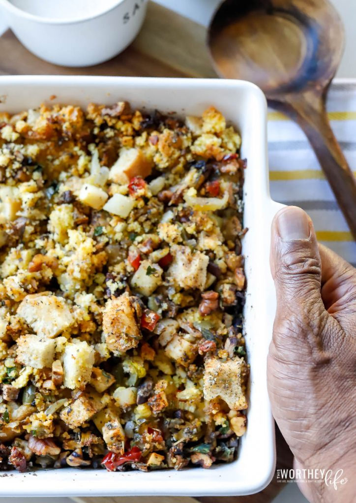 The vegetarian and vegan sides for Thanksgiving is here to stay! So, if you're looking for an easy vegan stuffing recipe using sourdough and cornbread dressing, then this is it! It's 100% meatless and quite possibly the only dressing recipe you're going to need this Thanksgiving.