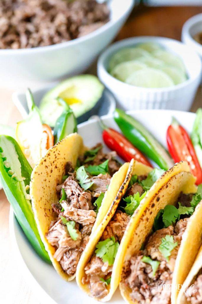 American style barbacoa tacos