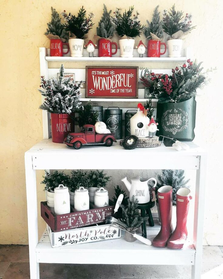 """Anne Collins Rivera on Instagram: """"It's the Most Wonderful Time of the Year! 🎄♥️🌟 #pottingbench #pottingstand #porch #christmas #christmasdecor #christmasdecorations…"""""""