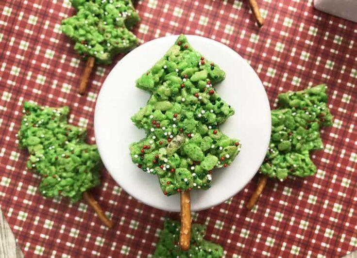 Easy Green Christmas Tree Rice Krispie Treats Recipe