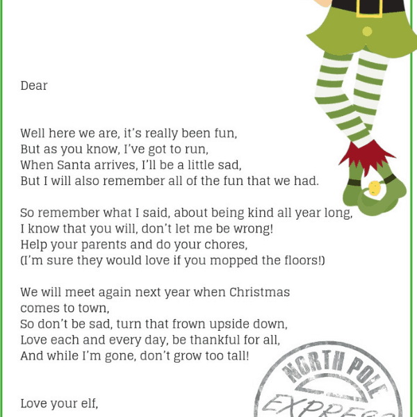 Elf On The Shelf Goodbye Letter- The Perfect Elf On The Shelf Leaving Gift