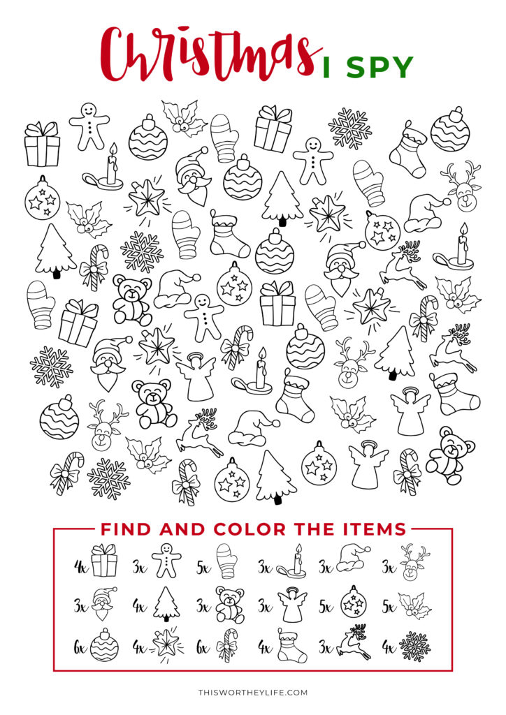 Fun I-Spy Christmas Free Printable Coloring Page for All Ages